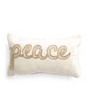 Made In India 12x20 Beaded Peace Pillow