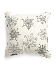 Made In India 22x22 Wool Blend Snowflakes Pillow