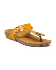Made In Spain Leather Flat Bed Tong Sandals