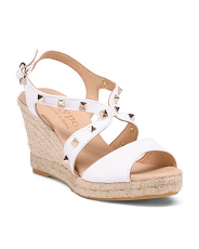 Made In Spain Studded Leather Wedge Sandals