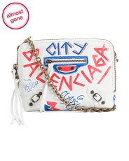 Made In Italy Leather Graffiti Crossbody