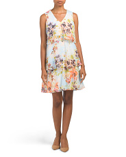 Clip Dot Floral Tiered Dress