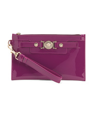 Made In Italy Medusa Patent Leather Wristlet