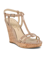 Patent Cork Wedge Sandals