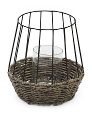 Rattan Lantern With Glass