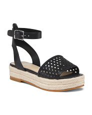 Espadrille Woven Flatform Leather Sandals