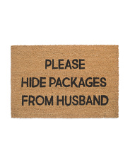 Made In India 24x36 Please Hide Packages Door Mat