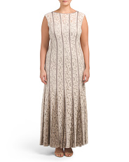 Plus Lace Gown With Contrast Godets