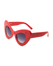 Chunky Cat Eye Sunglasses With Pouch