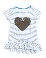 Little Girls Ruffle Hem Heart Top