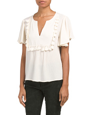 Split Neck Tassle Trim Top
