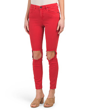 High Rise Destructed Skinny Jeans
