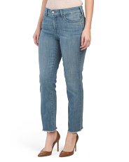 Sheri Slim Ankle Jeans With Fray Hem