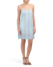 Juniors Vertical Stripe Mini Slip Dress