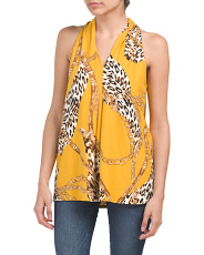 Made In Usa Animal Chain Print Top