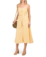 Linen Blend Button Front Gingham Dress