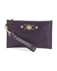 Made In Italy Leather Medusa Wristlet