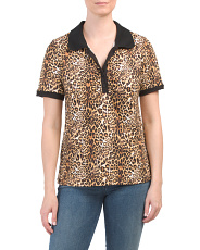 Leopard Print Collared Knit Top