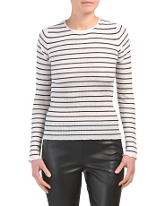 Stripe Ribbed Cashmere Crew Neck Sweater