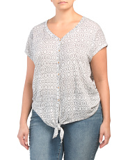 Plus Tie Front Printed Linen Top
