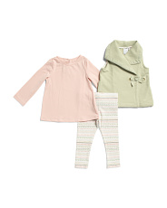 Infant Girls 3pc Vest Tee And Legging Set