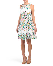Floral Cotton Blend Fit & Flare Dress