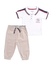 Infant Boys Polo Shirt And Twill Jogger Set