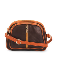 Made In Italy Leather Crossbody With Multi Entry