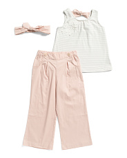Toddler Girls Tank And Wide Leg Pant Set With Headband