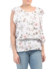 Made In Italy Floral Ruffle Linen Top