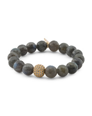 Handcrafted In California Labradorite Cz Bead Bracelet