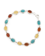 Made In Poland Sterling Silver Amber And Turquoise Bracelet