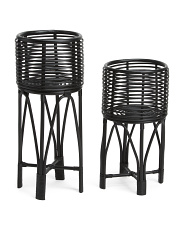 Made In Indonesia Set Of 2 Rattan Plant Stands