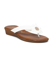 Made In Italy Flat Flower Sandals