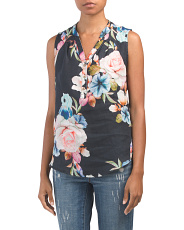 Made In Italy Floral Linen Top