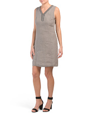 Made In Italy Linen V Neck A Line Dress