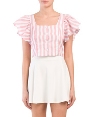 Juniors Striped Button Up Crop Top