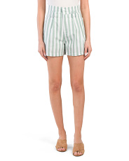 Juniors Stripe Linen Blend Shorts