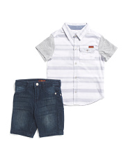 Little Boys Striped Woven Shirt And Denim Short Set