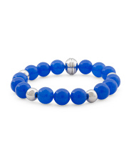 Made In Italy Sterling Silver 10mm Blue Agate Bracelet