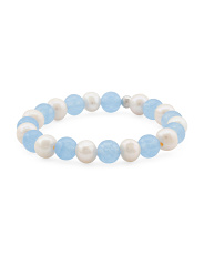 Made In Italy Sterling Silver 8mm Blue Agate Pearl Bracelet