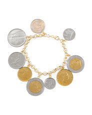 Made In Italy Sterling Silver Lire Coin Charm Bracelet