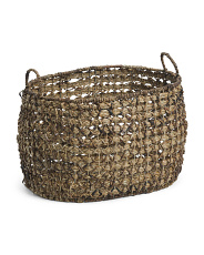 Large Oval Weave Basket With Handles