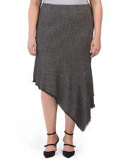 Plus Asymmetrical Fringed Skirt