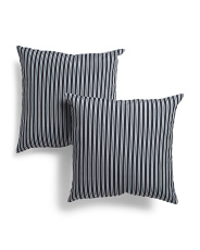 18x18 2pk Indoor Outdoor Striped Reversible Pillows
