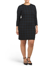 Plus Long Sleeve Window Pane Knit Dress