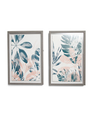 Set Of 2 Leaves Wall Art