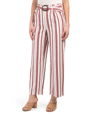 Juniors Linen Blend Lurex Stripe Belted Pants