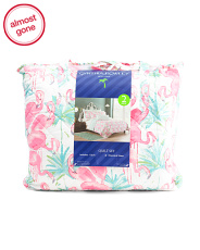 Flamingo Bay Quilt Set With Tote
