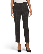 Petite Stretch Window Pane Printed Pants